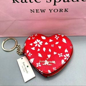 Kate Spade red heart coin purse key fobs brand new